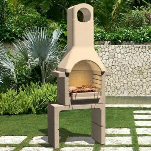 VidaXL Concrete Charcoal BBQ Stand with Chimney