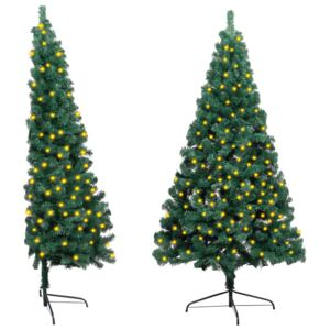 Artificial Half Christmas Tree with LED&Stand Green 210 cm PVC