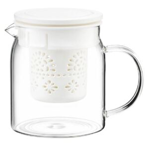 Teapot Subtele with infuser and lid 800 ml white AMBITION