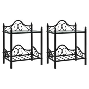Bedside Tables 2pcs Steel and Tempered Glass 45x30.5x60cm Black