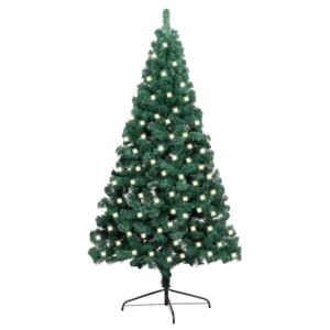 Artificial Half Christmas Tree with LED&Stand Green 120 cm PVC