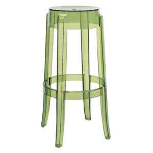 Charles Ghost Stackable bar stool - H 75 cm - Plastic by Kartell Green
