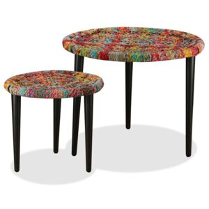 Coffee Table Set 2 Pieces Chindi Weave Details Multicolour