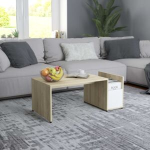Coffee Table White and Sonoma Oak 90x45x35 cm Chipboard