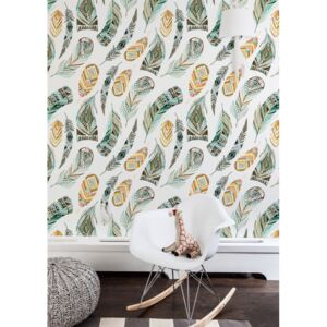 Wallpaper Ethnic Watercolor Feathers