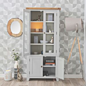 Hampshire Grey Painted Oak Glass Display Cabinet