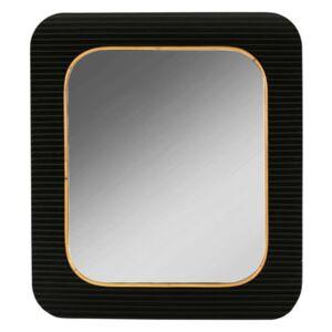 Riviera Wall mirror - / 76 x 87 cm - Lacquered wood by Maison Sarah Lavoine Black/Natural wood