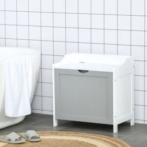 Kleankin Bathroom Laundry Cabinet Bin Free Standing Towel Storage Chest with Raised back and Shaker Style Door