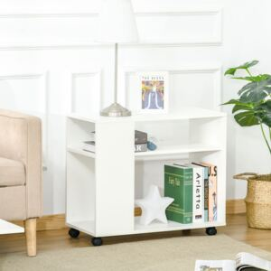 HOMCOM Mobile Sofa Bed Beside Side Table Nightstand End Table with 2 Storage Shelves Casters Brake Wheels for Compact Home Cart, White