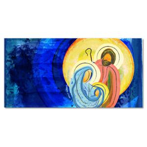 Glass Wall Art Abstraction Holy Family Winter 30x60 cm