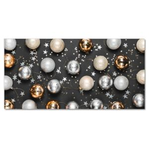 Glass Wall Art Holy Christmas baubles 30x60 cm