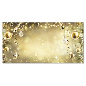 Glass Print Gold Christmas Holiday Decorations 30x60 cm