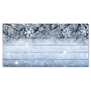 Glass Wall Art Holy Snowflakes Winter Frost 30x60 cm