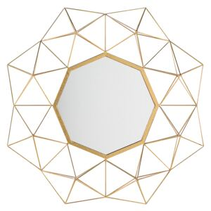 Wall Mounted Hanging Mirror Gold 69 x 80 cm Sun Star Shape Decorative Accent Piece Living Room Bedroom Beliani