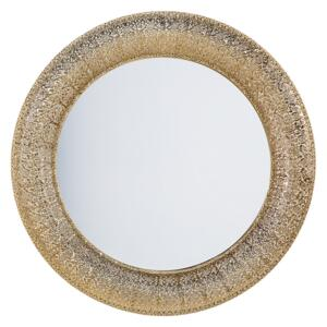 Wall Mounted Hanging Mirror Gold Round 80 cm Decorative Accent Piece Painted Beliani