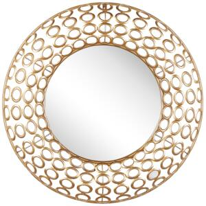 Wall Hanging Mirror Oval Gold ø 80 cm Wall Art Decor Eclectic Style Living Room Beliani
