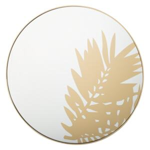 Wall Mounted Hanging Mirror Gold 56 cm Round Leaf Motif Living Room Decorative Accent Piece Beliani