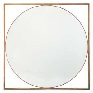 Round Wall Mirror in Square Frame Gold 81 x 81 cm Bathroom Living Room Glam Beliani