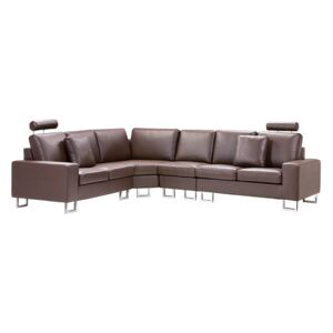 Corner Sofa Brown Leather Upholstery 6 Seater Right Hand L-Shape with Adjustable Headrests Beliani