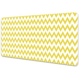 Large desk mat table protector yellow zigzags 45x90cm