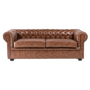 Chesterfield Sofa Brown Faux Leather Black Legs 3 Seater Beliani