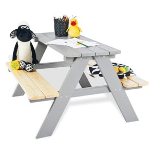 Pinolino Kid's Picnic Table with Benches Nicki für 4 Wood Grey