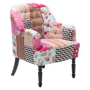Armchair Multicolour Pink Fabric Patchwork Club Chair Button Tufted Wooden Legs Beliani
