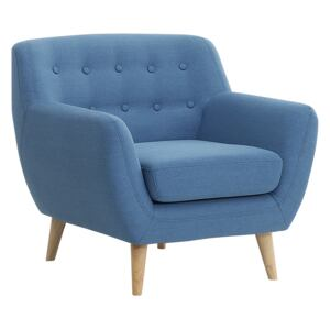 Armchair Chair Blue Tufted Back Light Wood Legs Thickly Padded Living Room Nursery Beliani