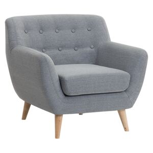 Armchair Chair Grey Tufted Back Light Wood Legs Thickly Padded Living Room Nursery Beliani