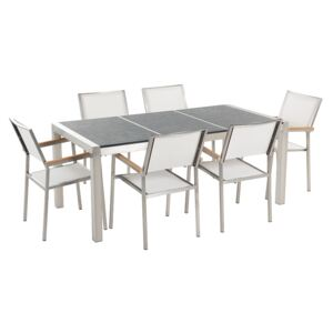 Garden Dining Set White with Flamed Basalt Table Top 6 Seats 180 x 90 cm Triple Plate Beliani
