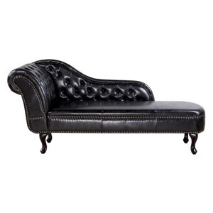 Chaise Lounge Black Left Hand Faux Leather Buttoned Beliani