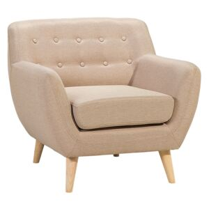 Armchair Chair Beige Tufted Back Light Wood Legs Thickly Padded Living Room Nursery Beliani