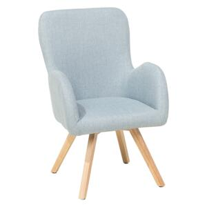 Lounge Chair Blue Fabric Upholstery Modern Club Chair with Armrests Wooden Legs Beliani