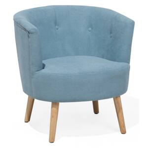 Armchair Blue Upholstered Tub Chair Retro Style Beliani