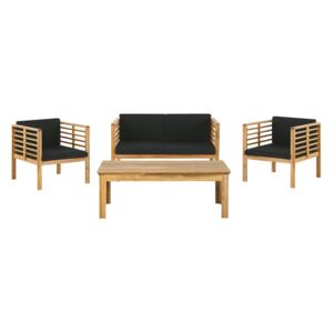 Garden Conversation Set Acacia Wood Black Cushions Modern Outdoor 4 Seater with Coffee Table Beliani