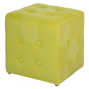 Footstool Yellow Velvet Cube Pouffe Button Tufted Upholstery Beliani