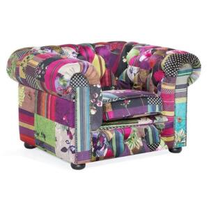 Armchair Multicoloured Fabric Tufted Scroll Arms Purple Patchwork Eclectic Beliani