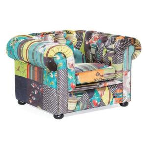Armchair Multicoloured Fabric Tufted Scroll Arms Yellow Patchwork Eclectic Beliani