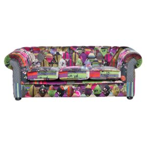 3 Seater Sofa Multicoloured Fabric Tufted Scroll Arms Purple Patchwork Eclectic Beliani