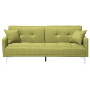 Sofa Bed Green 3 Seater Buttoned Seat Click Clack Beliani