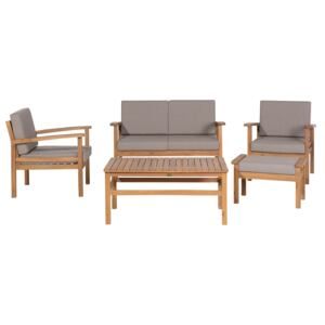 Garden Sofa Set Taupe Cushions Solid Acacia Wood 4 Seater with Table Outdoor Conversation Set Beliani