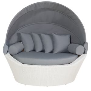 Garden Daybed White and Grey Faux Rattan with Cushions Weather Resistant Beliani