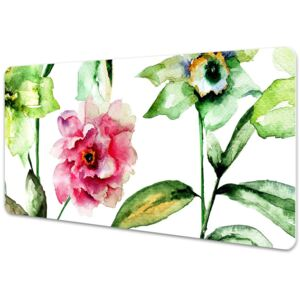 Large desk mat table protector spring flowers 45x90cm