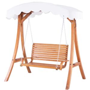 Garden Swing Seat Larch Wood Frame White Fabric Outdoor 2-Seater with Canopy Freestanding Beliani