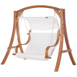 Garden Swing Seat Larch Wood Frame White Fabric Outdoor 2-Seater with Canopy Beliani