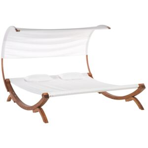 Garden Outdoor Lounger White Textile Seat Larch Wood Frame Double Seat Curved Canopy Beliani