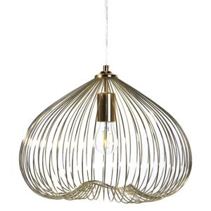1-Light Pendant Ceiling Gold Metal Shade Cage Wire Industrial Beliani