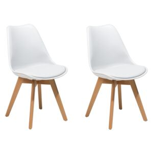 Set of 2 Dining Chairs White Faux Leather Sleek Wooden Legs Beliani