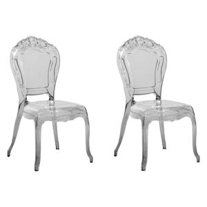 Set of 2 Dining Chairs Black Transparent Acrylic Solid Back Armless Stackable Vintage Modern Design Beliani