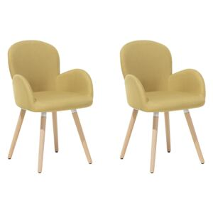 Set of 2 Dining Chairs Yellow Fabric Upholstery Light Wood Legs Modern Eclectic Style Beliani